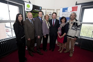 From left to right : Elisabetta Arca, Trinity College Dublin, Patrick Cunningham, Chief Scientific Advisor to the Government, David Loyd, Chairman of the Irish Research Council, S.E. Mme Emmanuelle d'Achon, Ambassador of France in Ireland, Mr. Seán Sherlock TD, Irish Minister of State with special responsibility for Research and Innovation, Linda Cattin and Jean-Christian Bernède, University of Nantes, France - JPEG