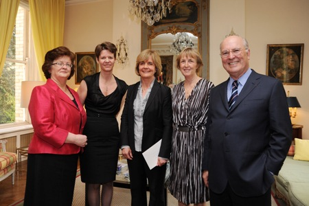 Prof Hannah McGee, Dean of the Faculty of Medicine & Health Sciences RCSI, Dr Lucy Vincent, General Director External Affairs Servier, Prof Geraldine McCarthy, the Awardee, HE Emmanuelle d'Achon French Ambassador to Ireland, Mr Pierre Joannon, Président d'Honneur of the Ireland Fund of France. - JPEG