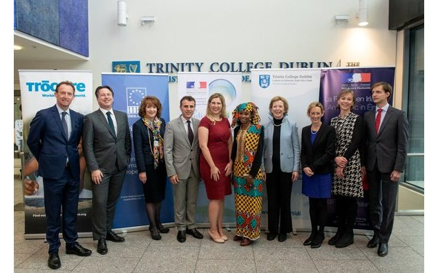 Mr Barry Andrews (IIEA), Mr Nick Mabey (E3G), Ms Jill Donoghue (IIEA), H.E. Mr Stéphane Crouzat (Ambassador), Dr Cara Augustenborg, Ms Hindou Oumarou Ibrahim, Ms Mary Robinson, Ms Caoimhe de Barra (CEO, Trocaire), Prof. Susan Murphy (Director of TIDI), Mr Grzegorz Grobicki (Polish Ministry for Environment)