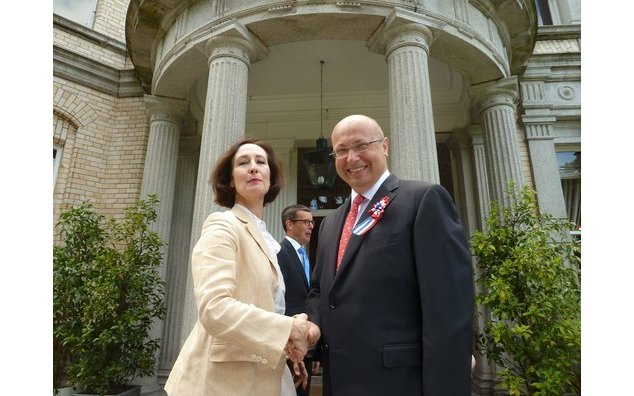 French Ambassador Thebault with Irish Times journalist Lara Marlowe