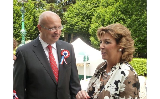 French Ambassador Thebault with future Irish ambassador to France Geraldine Byrne-Nason