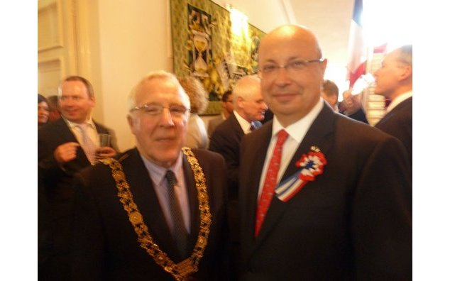 Dublin Mayor Christy Burke with Ambassador Thebault